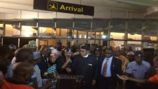 Buhari Arival from London Photo