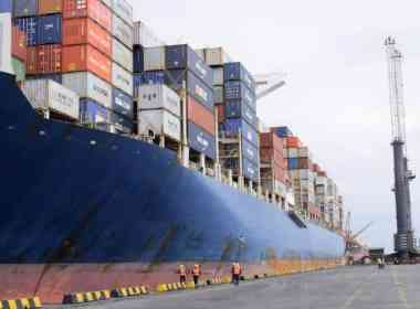 Huge ship berths at Onne Photo