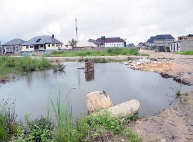The spot of the pipeline explosion at Abule Ado in Lagos, which occured on March 15, 2020 Photo