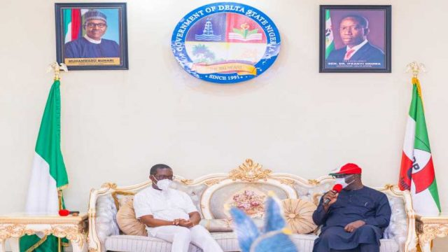 Godwin Obaseki, when he paid a thank you visit to his Delta State counterpart, Ifeanyi Arthur Okowa photo