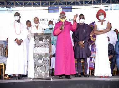 Edo State governor, Godwin Obaseki at an interdenominational thanksgiving service on Sunday