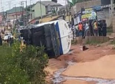 Petrol Tanker fall in Lambe Ogun State Photo