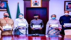 L-R Vice President Yemi Osinbajo SAN, Deputy Secretary General of the United Nations Amina J. Mohammed, Minister of Finance, Zainab Ahmed, Foreign Affairs Minister, Geoffrey Onyeama