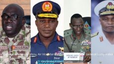 Major General Ibrahim Attahiru, Air Vice Marshall Isiaka Amao,Major General Lucky Irabor and Rear Admiral Awwal Zubairu Gambo Photo
