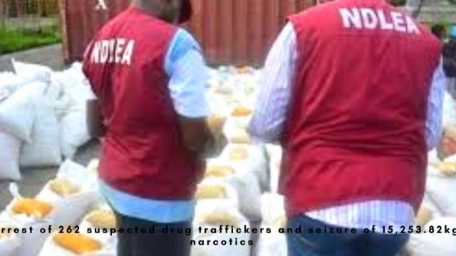 the arrest of 262 suspected drug traffickers and seizure of 15,253.82kg of narcotics photo