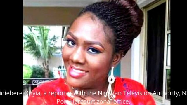 Chidiebere Onyia, a reporter with the Nigerian Television Authority, NTA, Port Harcourt zonal office. Photo