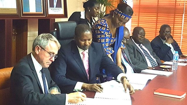 The Attorney General and Minister of Justice, Abubakar Malami, during the signing of a Memorandum of Understanding (MOU) between the British and Nigerian Governments