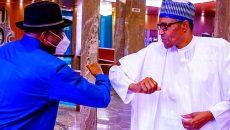 Former President Goodluck Jonatan and President Muhammadu Buhari Photo