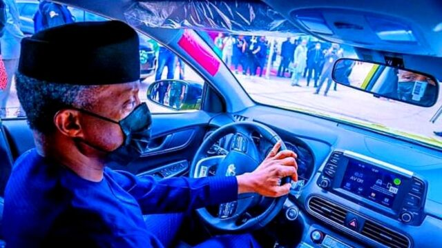 Vice President Yemi Osinbajo test-drives the Kona Electric Car Assembled in Nigeria at the Made in Nigeria Exhibition. Photo: State House