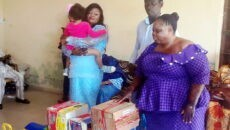 From L-R Mrs Kemi Elebute Halle with her daughter, Chief Olufemi Eponlolaye, National Co-Ordinator, Dominion Group and Mrs Olayinka Ajayi, Matron, Erelu Angela Adebayo Children's Home, Iyin-Ekiti.